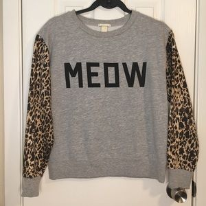Forever Meow Grey Sweater w/ Cheetah Print Sleeves